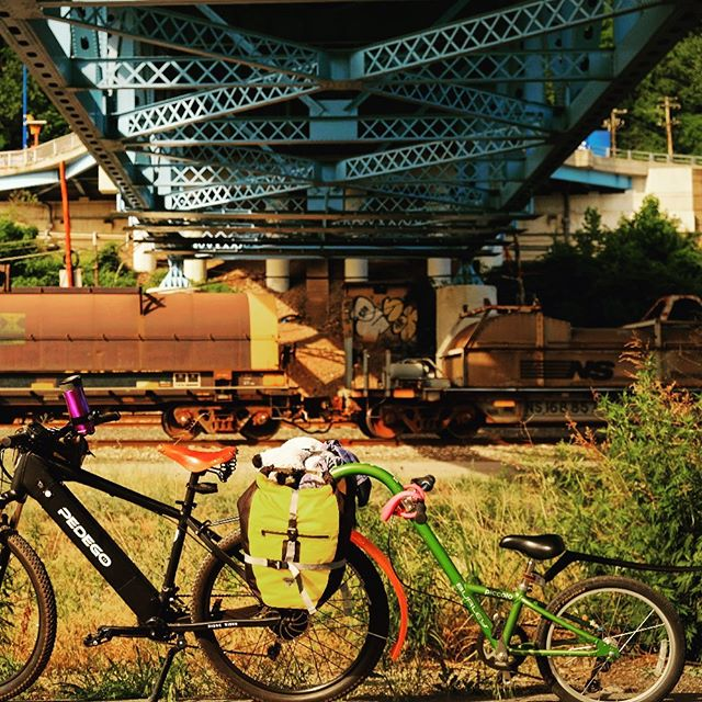 Ebikes make multi-day #biketouring for young families, not only possible, but highly enjoyable. This is day 1 of the Great Allegheny Passage trail, fresh out of Pittsburgh, where you get to ride over, under and across a series of gorgeous steel bridges. #familyvacation #greatalleghenypassage . . . Tag @bikabout or #EbikesareCheating on socials and we'll share your cheating 🤫 story. Instagram link is our recent blog  showcasing all the amazing adventures and everyday life stuff that these ⚡️😀 machines have a hand in. . . . . #ihavethisthingwithbikes #bikeride  #wanderbybike #bikelife #biketravel #biketour #cycling #biking #cyclinglife #cyclingtour #biketourism #familytravel #travelphotography #familybikeride #etandembike #ebike #electricbike #electricbikes #gaptrail