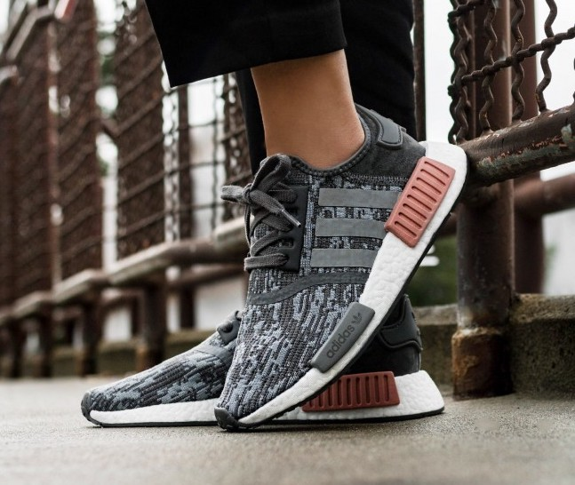 Now Available Women S Adidas Nmd R1 Glitch Grey Sneaker Shouts