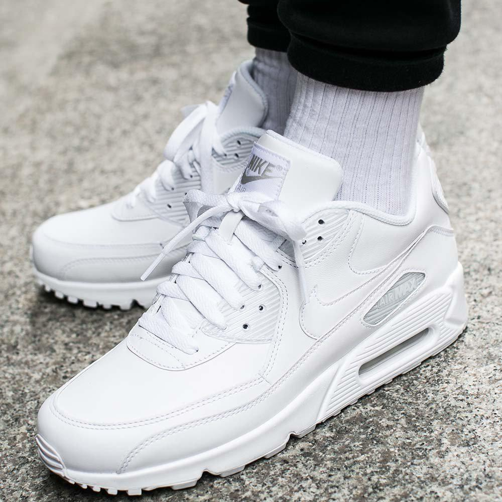 """Nike Air Max 90 Leather """"Triple White"""": Sale Price: $82.50 (Retail $120)  – FREE SHIPPING – use code:  – 25MEMDAY –  at checkecout"""