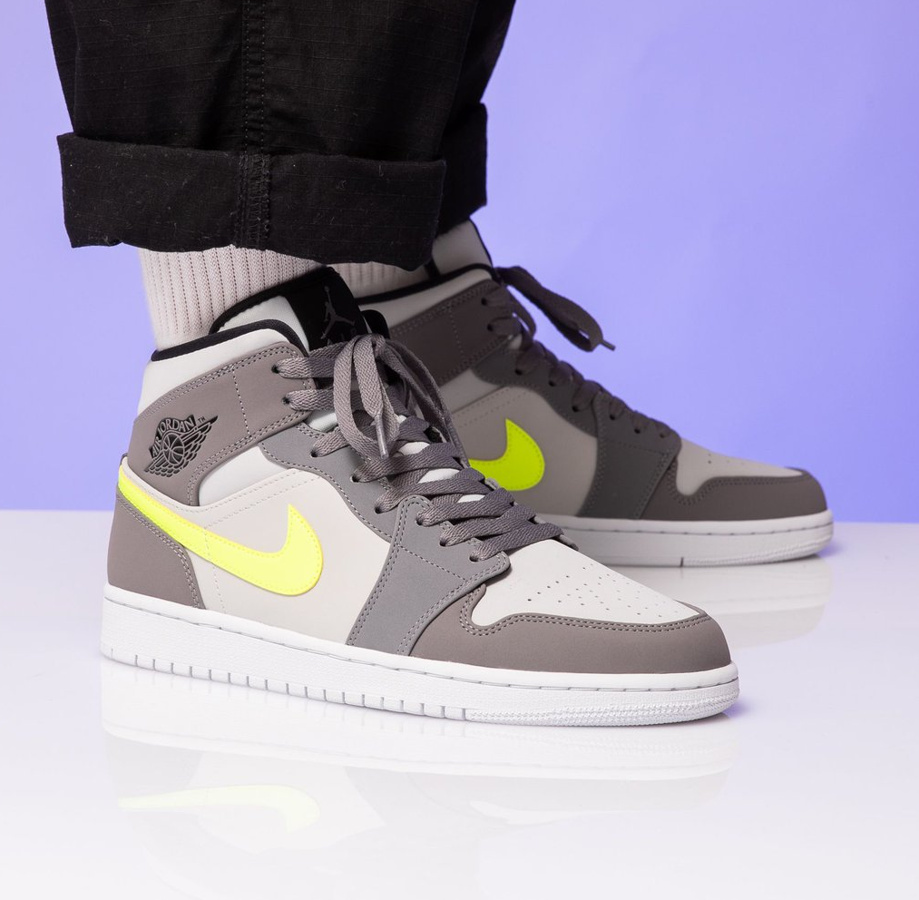 "Air Jordan 1 Mid ""Grey Volt"": Sale Price: $88 (Retail $110)  – FREE SHIPPING  – use code:  – BLKF20E –  at checkout"