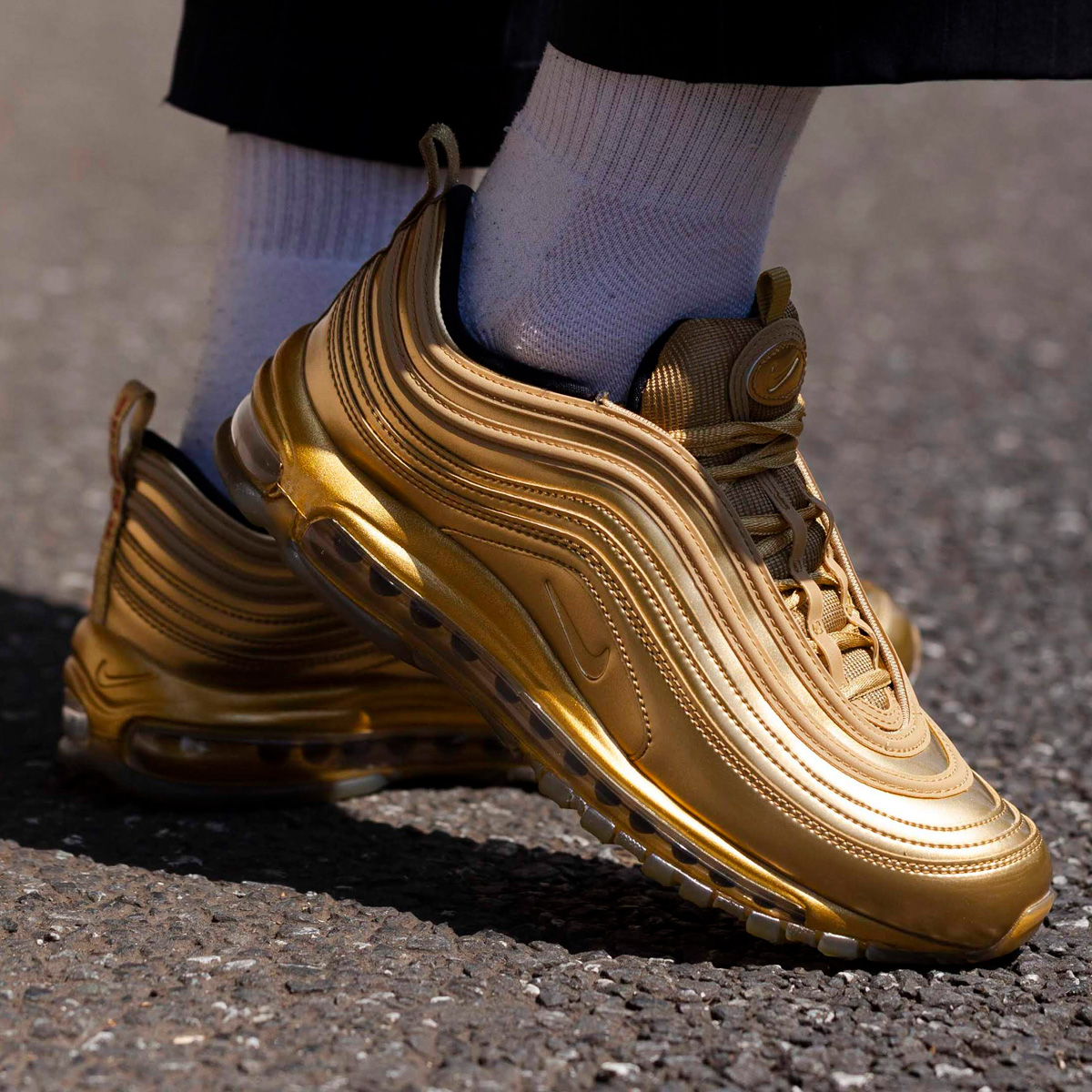 "Nike Air Max 97 ""Gold Medal"" : Sale Price: $126 (Retail $180)  – FREE SHIPPING – use code:  – NSGM30 –  at checkout"