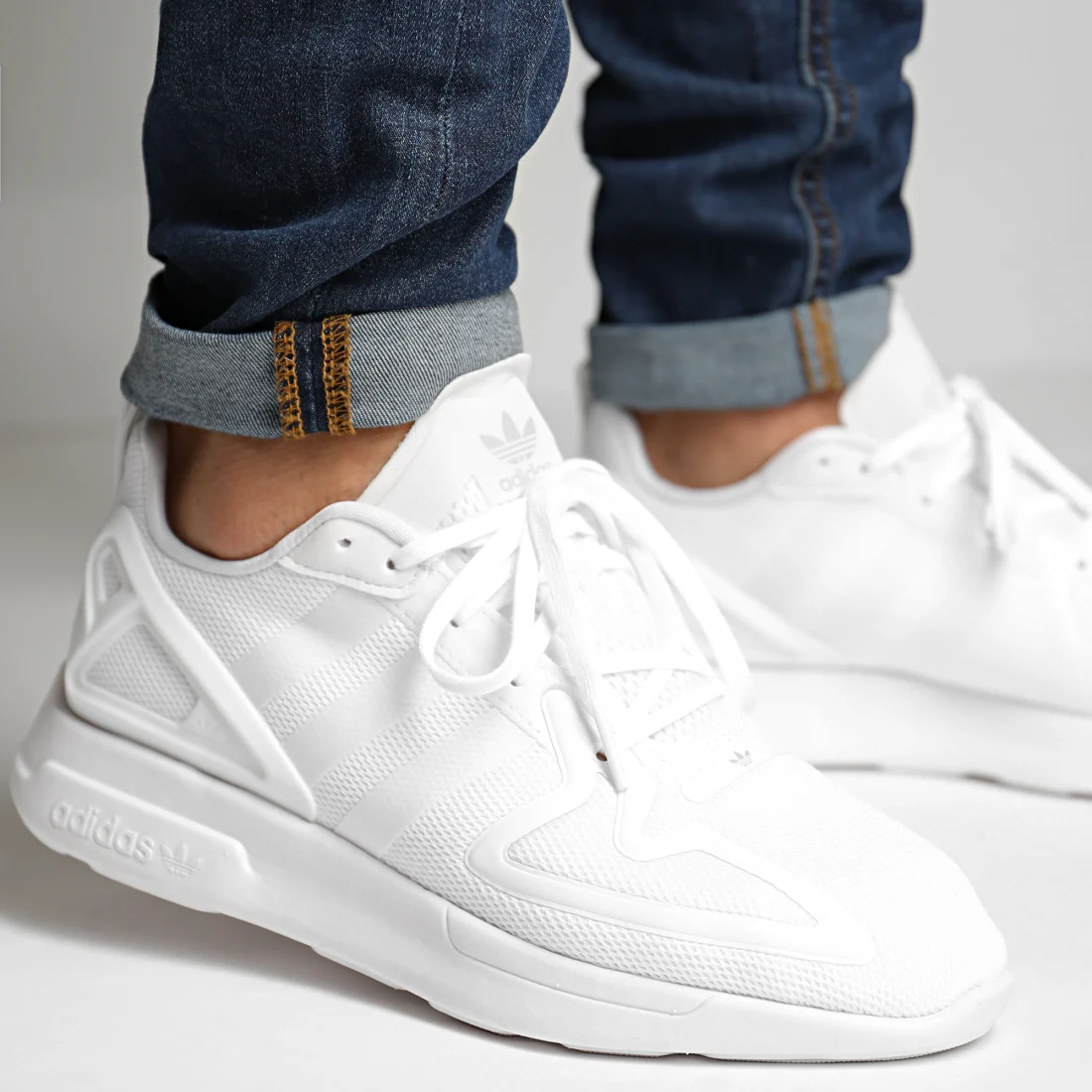 """adidas ZX 2K Flux """"Triple White"""": Sale Price: $43.20 (Retail $90)  – FREE SHIPPING – use code:  – EXTRA20 –  at checkout"""