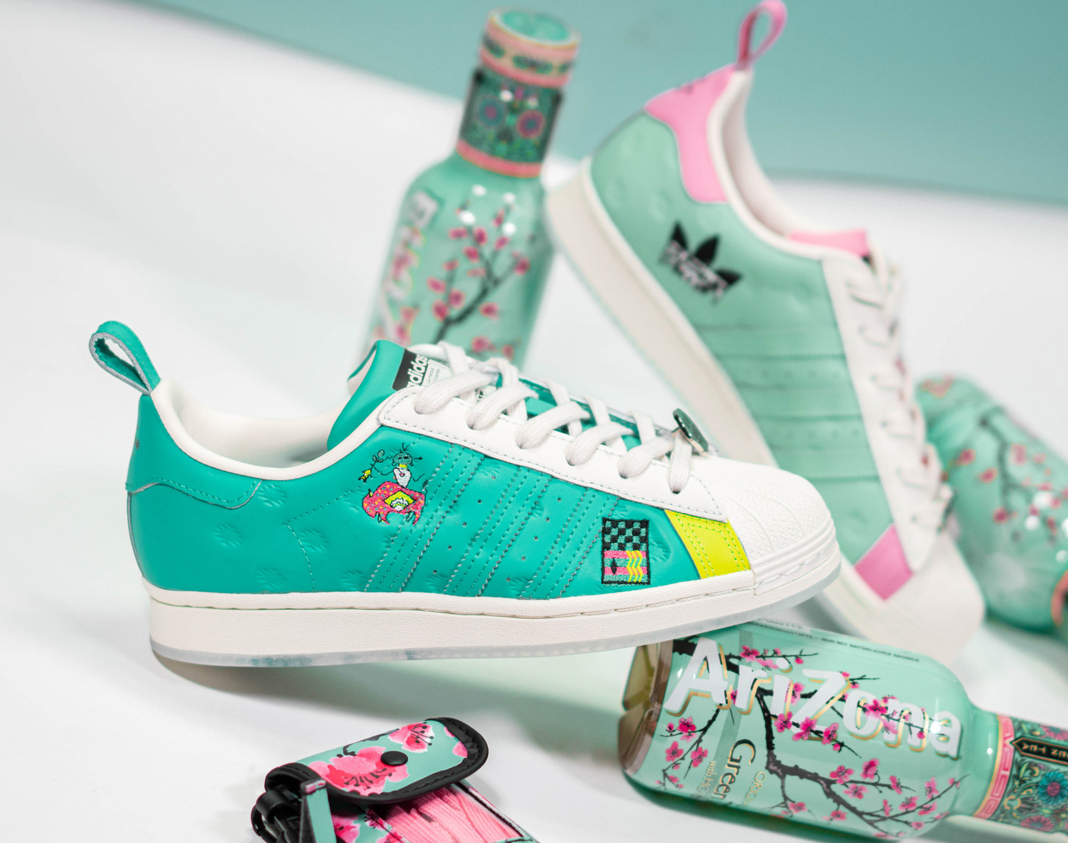 """Arizona Iced Tea x adidas Superstar """"Chalk Teal"""": Sale Price: $49 (Retail $100)  – FREE SHIPPING – use code:  – JULY –  at checkout"""