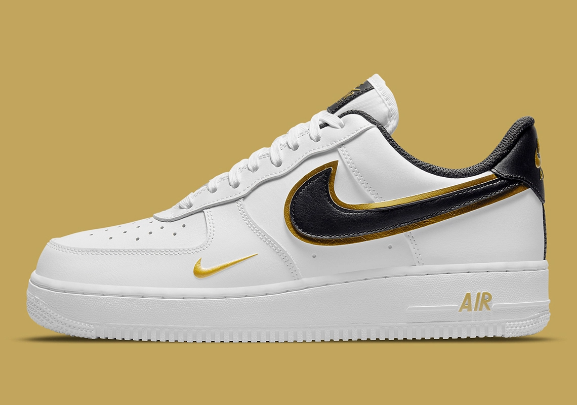 """Nike Air Force 1 Low Double Swoosh """"Metallic Gold"""": Sale Price: $93.50 (Retail $110)  – FREE SHIPPING – use code:  – PARJUL15 –  at checkout  – Style Code: DA8481-100"""