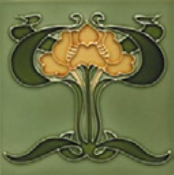 Art Nouveau Tile Decor Iris 152x152mm Yellow on Willow