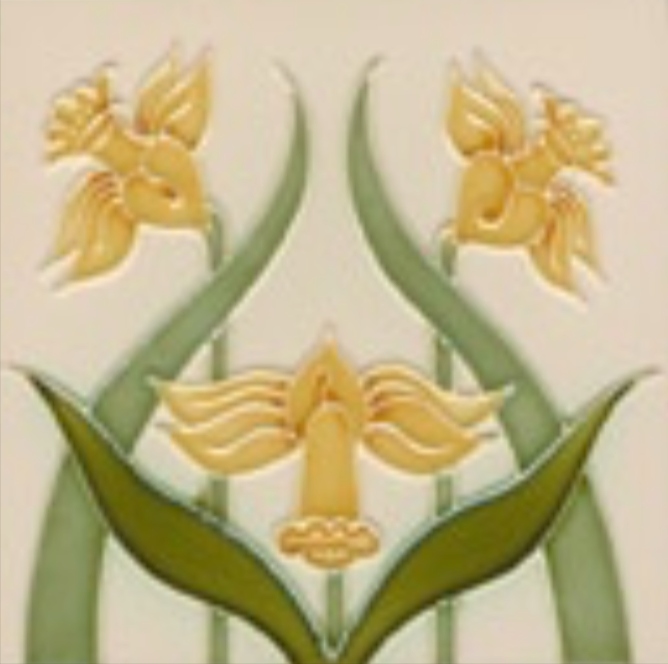 Art Nouveau Tile Decor Narcissus 152x152mm Willow on Cream 2