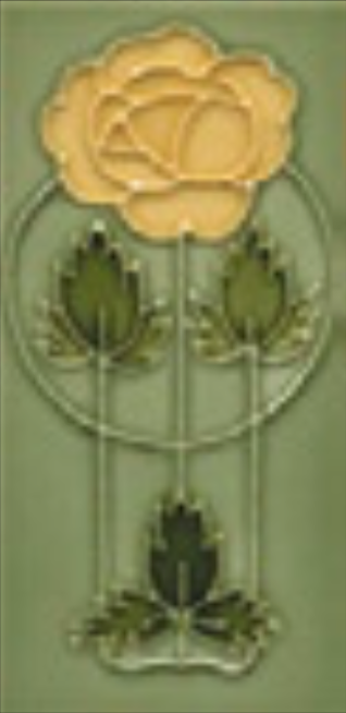 Art Nouveau Tile Decor Rose 152x75mm Yellow on Willow