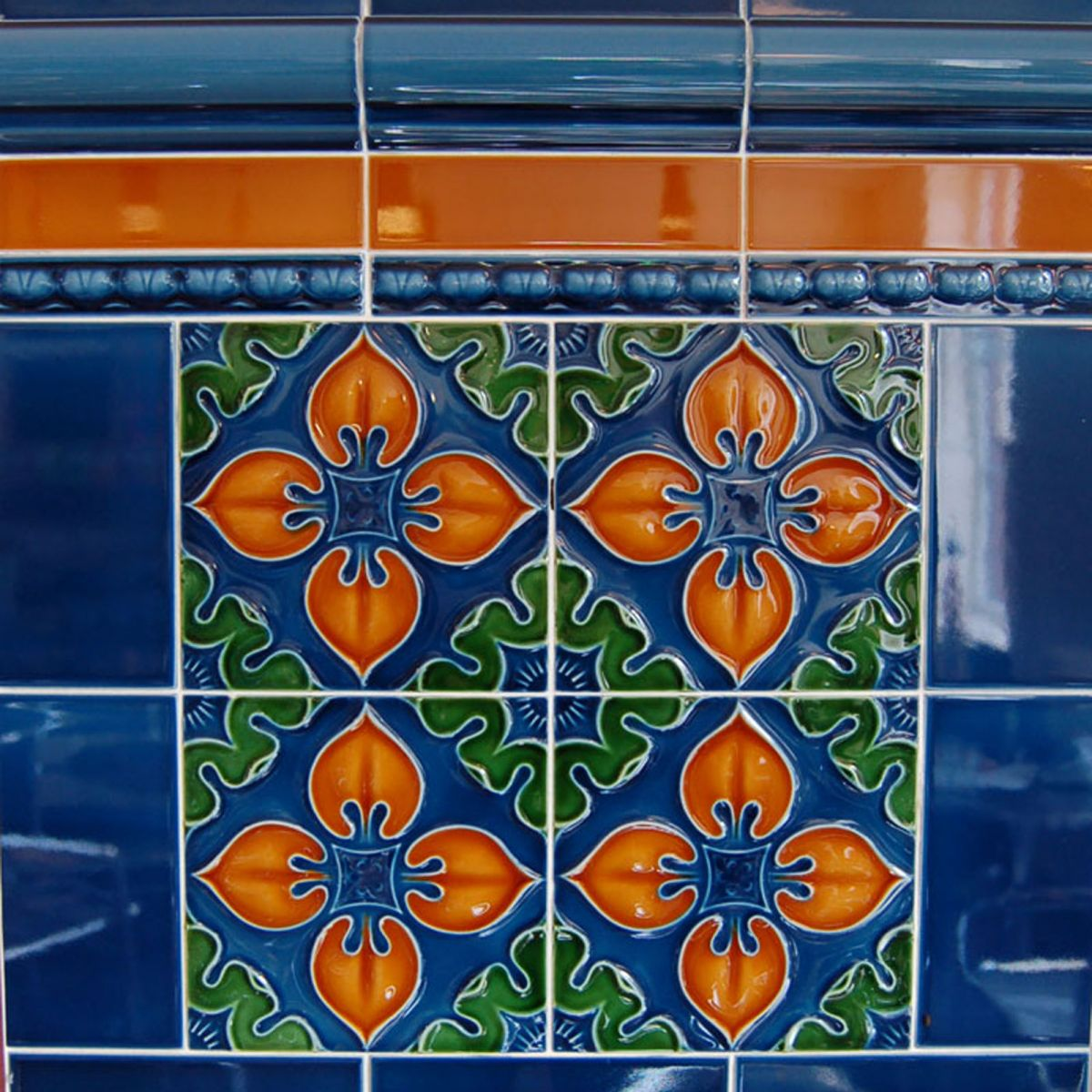 Demo Victorian Benthall multi colored blue Green Brown Traditional Embossed tiles 152x152mm - exterior