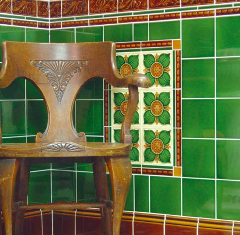 Demo Victorian Benthall multicolored traditional embossed buttermilk Green Brown laurel Traditional Embossed tiles 152x152mm - exterior