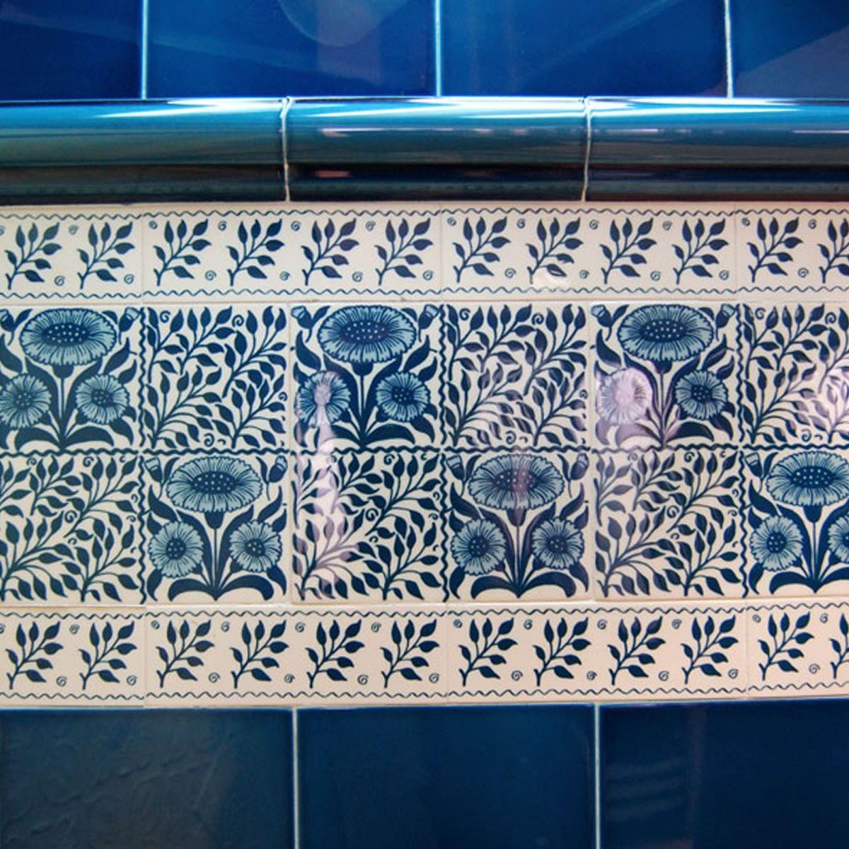 Demo Victorian Oreton blue Classic Printed decorative tiles 152x152mm - exterior use