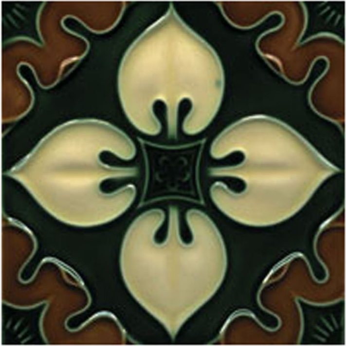 Victorian Tile Decors Traditional Embossed Benthall 152x152mm Chestnut Laurel Cream
