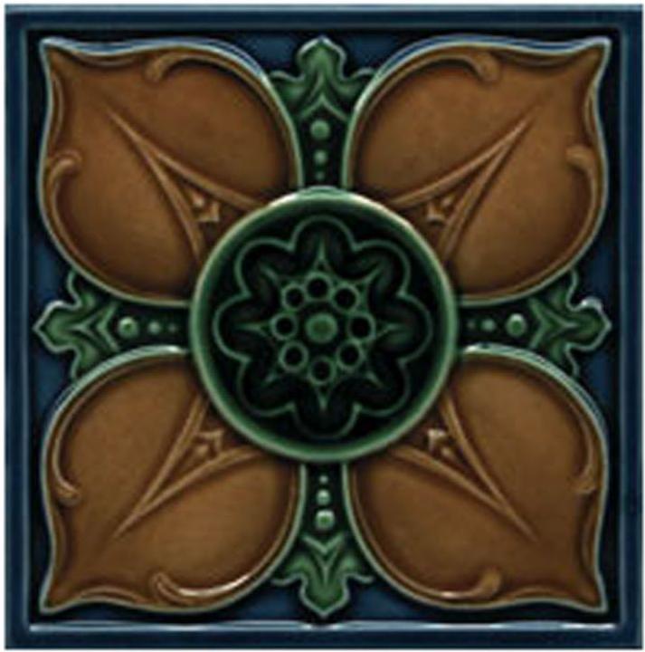 Victorian Tile Decors Traditional Embossed Leighton 152x152mm Laurel Chestnut