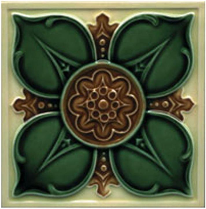 Victorian Tile Decors Traditional Embossed Leighton 152x152mm Cream Laurel Chestnut