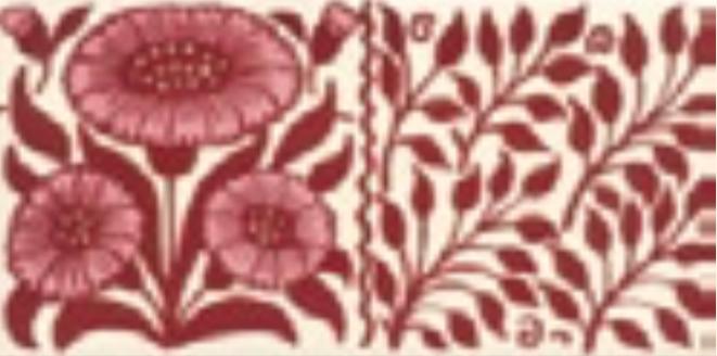 Victorian Tile Classic Printed Oreton 152x75mm Burgundy