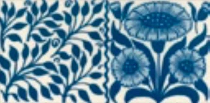 Victorian Tile Classic Printed Oreton 152x75mm Deep Blue