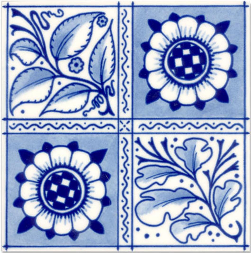 Victorian Tile Classic Printed Oakleaf 152x152mm