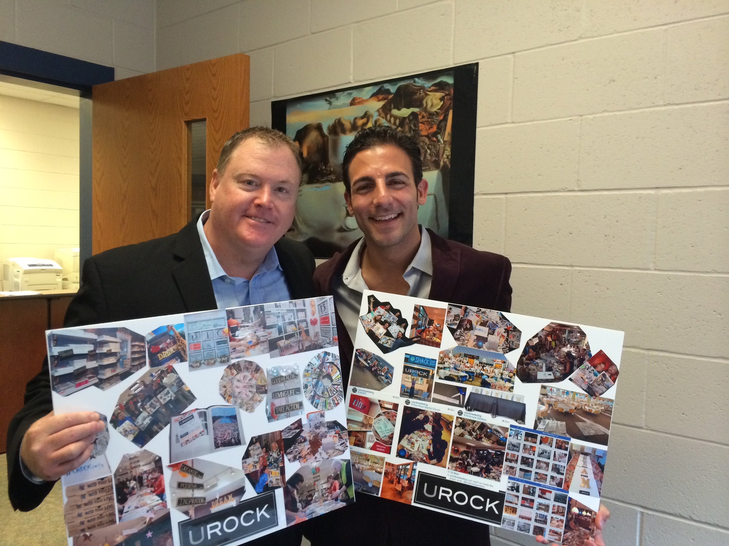 9/16/14: (Hampton, NH) Ed Gerety and Nick Mirabello take a moment at Winnacunnet High School following Gerety's presentation to hold two UROCK Vision Boards Mirabello created to display how he has taken Ed's message into motion! Both boards are a photo recap of all of the DREAM BOARD PARTIES UROCK has held over the past few years within New Hampshire, Massachusetts, and Maine. Find the next #UROCKparty nearest you!