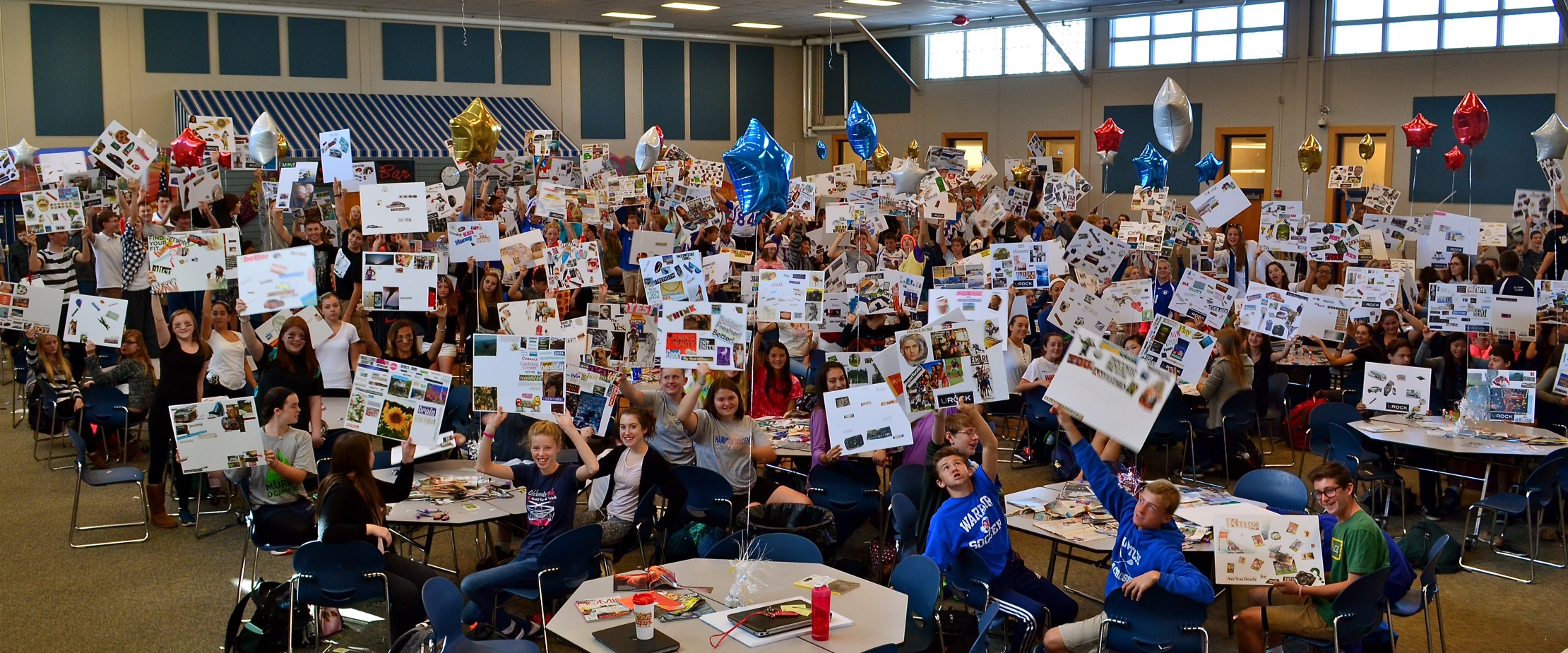 MILESTONE: The Largest  UROCK VISION BOARD PARTY  ™  eve! (9/24/15) at Winnacunnet High School (Hampton, NH). The entire Freshman class of 265 students were dreaming big and set for success to take on their new school year!  This epic UROCK experience was captured by Miles C. Woodworth of Seacoast Flash.