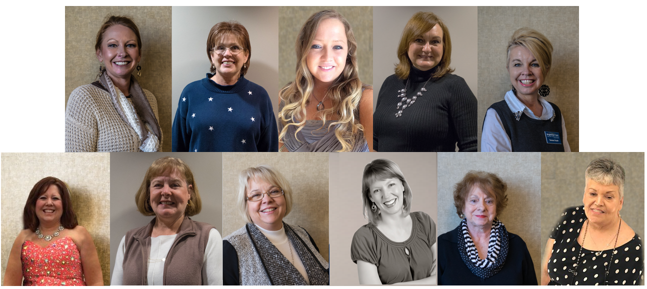 Pictured Above Top Row Left to Right: Tara Defler, Carolyn Franklin, Alyson Brand, Malana Couty, and Teresa Doyle  Pictured Above Bottom Row Left to Right: Valerie Goss, Deana Hall, Lynn Hundley, Kevin Ratliff, Roz Shaffer, and Juanita Waggoner