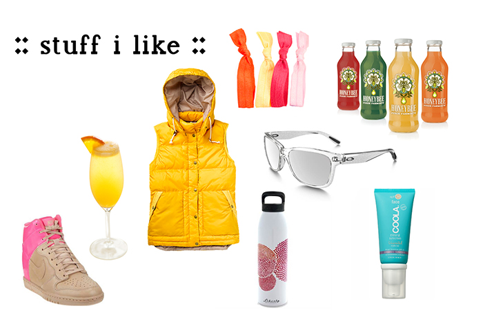 clockwise l to r :: nike dunk sky hi, mimosa...duh, burton wander vest, emi-jay hair ties, honeybee cold-pressed juice, oakley forehand sunglassess, coola mineral sunscreen matte tint, liberty water bottle