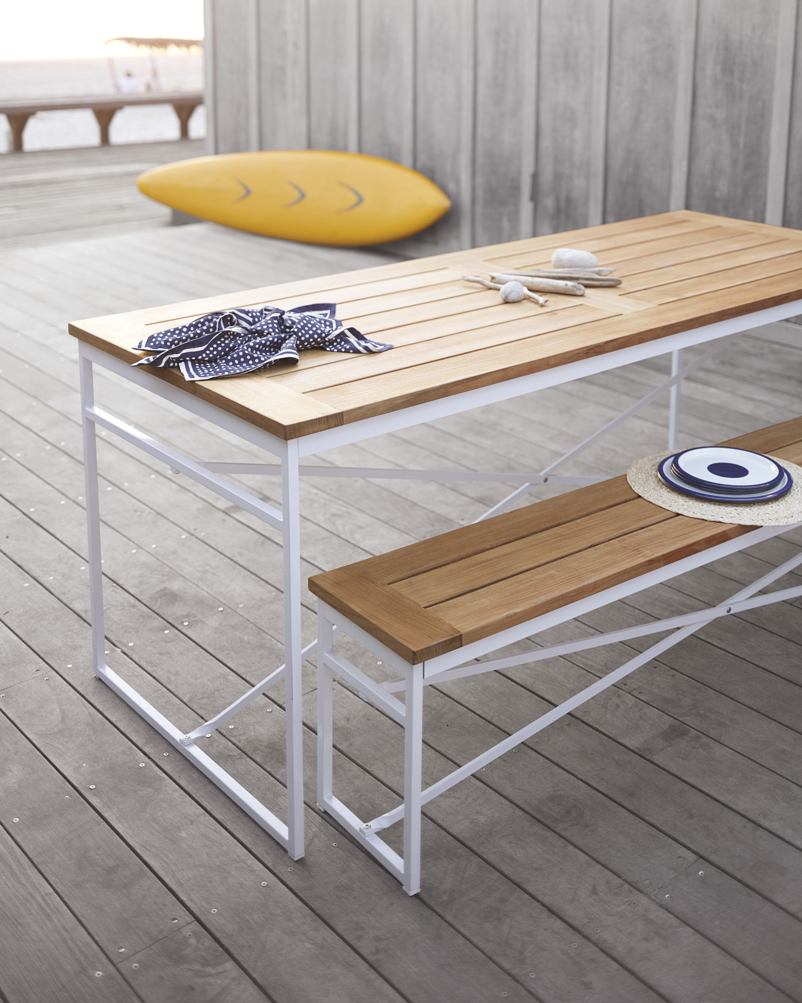 Serena & Lily Teak Garden Bench and Table/$895-$1250