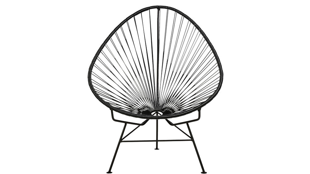 I love this chair. It's called the Black Egg Chair from CB2. Lightweight, and super comfortable...came across it in Costa Rica last Spring and could have sat in it all day. Oh wait, maybe i did.   View Product Website