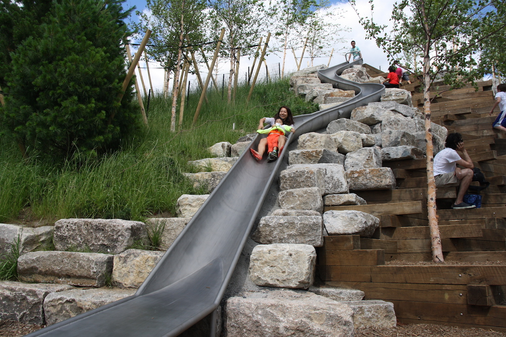"""the longest slide in all of nyc is on  """"slide hill""""  on GoveRnors 's island...57' long +three stories high"""