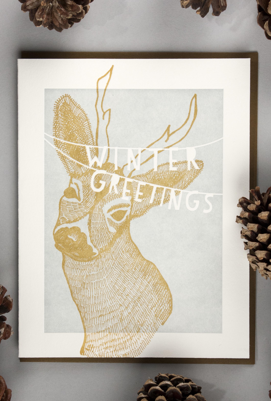 illustrated greeting card, letterpress