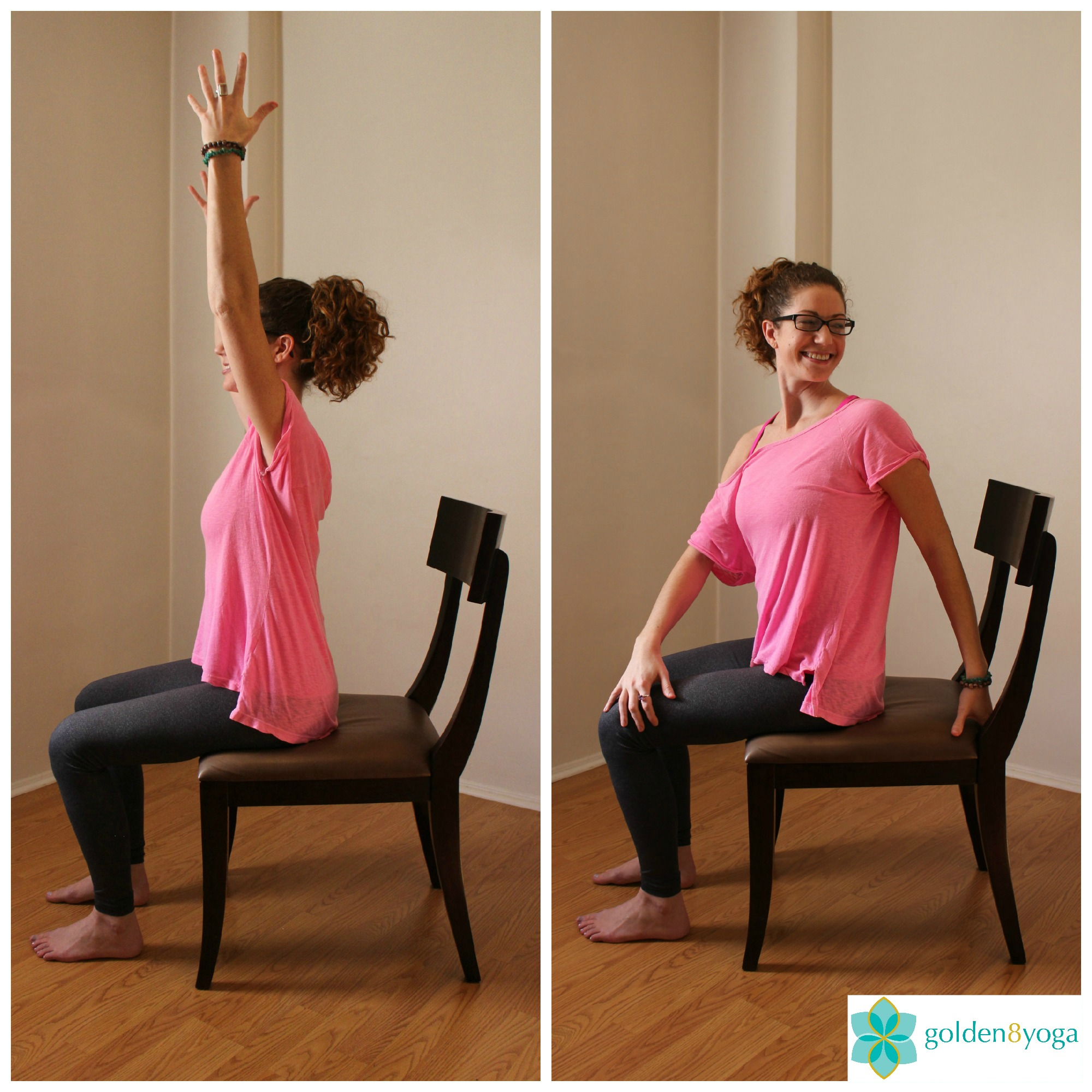 SEATED SPINAL TWIST  Try this pose if you have stiffness of your spine or back muscles. Benefits include tension relief in the back, stimulates your kidneys, spleen and liver, and massages the stomach easing digestive problems.  1. Sit comfortably in a chair with your feet hip width distance and parallel to each other. Sit up tall with your back, neck and head in a straight line and shoulders relaxed.  2. Inhale and extend arms up towards the ceiling. Feel each side body lengthen and stretch upward.  3. Exhale and twist to the left placing your left hand at the back of the chair and your right hand pressing on the outside of your left thigh. To increase the twist take your gaze over your left shoulder.   4. Hold the pose for 5 seconds breathing normally. Keep your buttocks firmly planted on the chair.   5. Inhale and release back to center and repeat on the opposite side. You can flow back and forth if that feels good for you. You can do this several times throughout the day.
