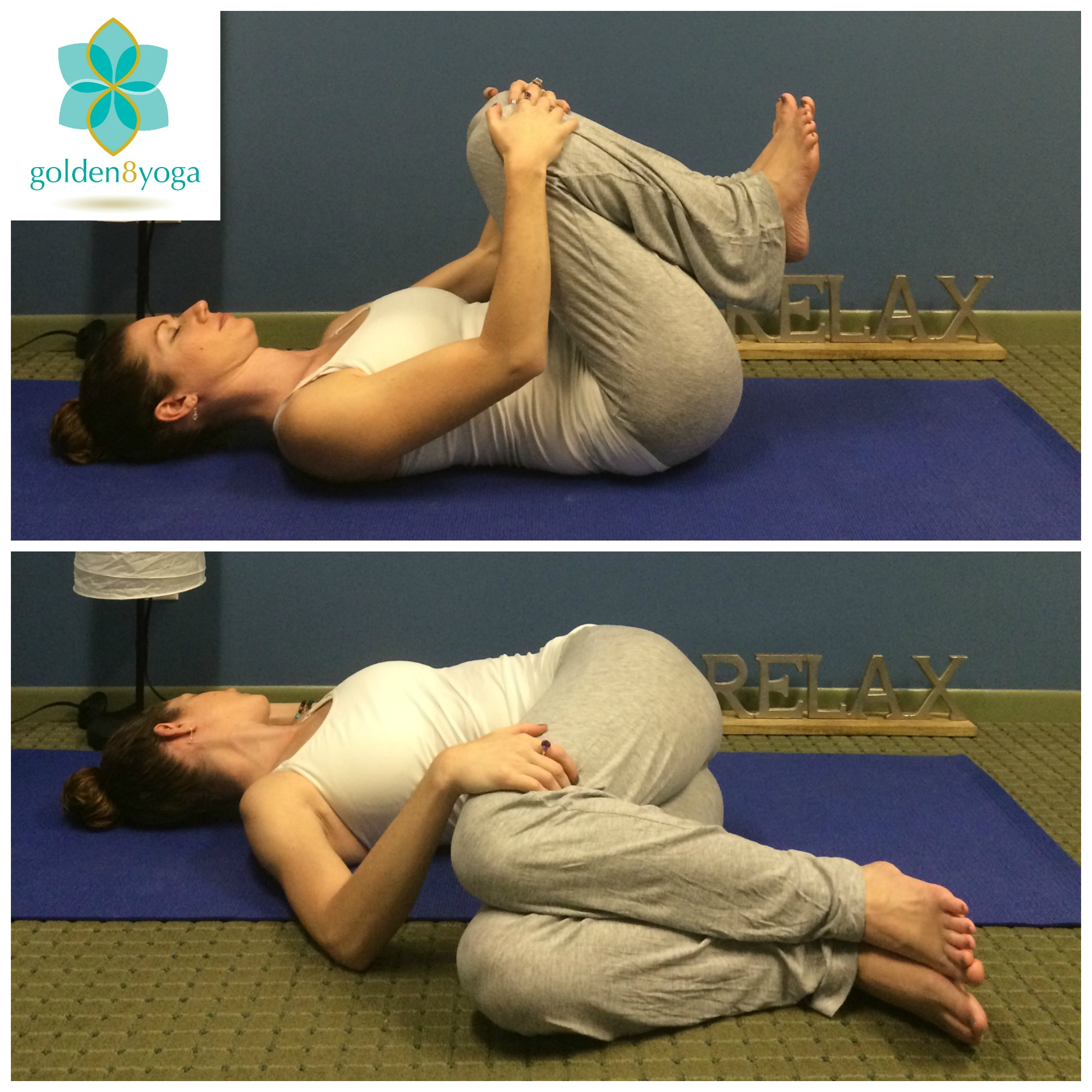 SUPINE SPINAL TWIST  Try this pose to bring flexibility to your spine, to alleviate stiffness in your low back and hips, and to aid digestion. This pose will help to alleviate any stress built up from your day.  1. Begin by laying flat on your back and hug both knees into your chest. Take a nice deep breath in and on the exhale slowly allow both legs (still bent) to lower to the floor on your right side.  2. Extend your left arm out perpendicular to your body and try to keep your left shoulder on the floor. Your right hand can be placed along your outer left thigh to help you settle into the pose.  3. Hold the pose for 5-10 breaths. On your next inhale feel your core gently engage to help bring your knees back to center and then on your exhale repeat on the opposite side.