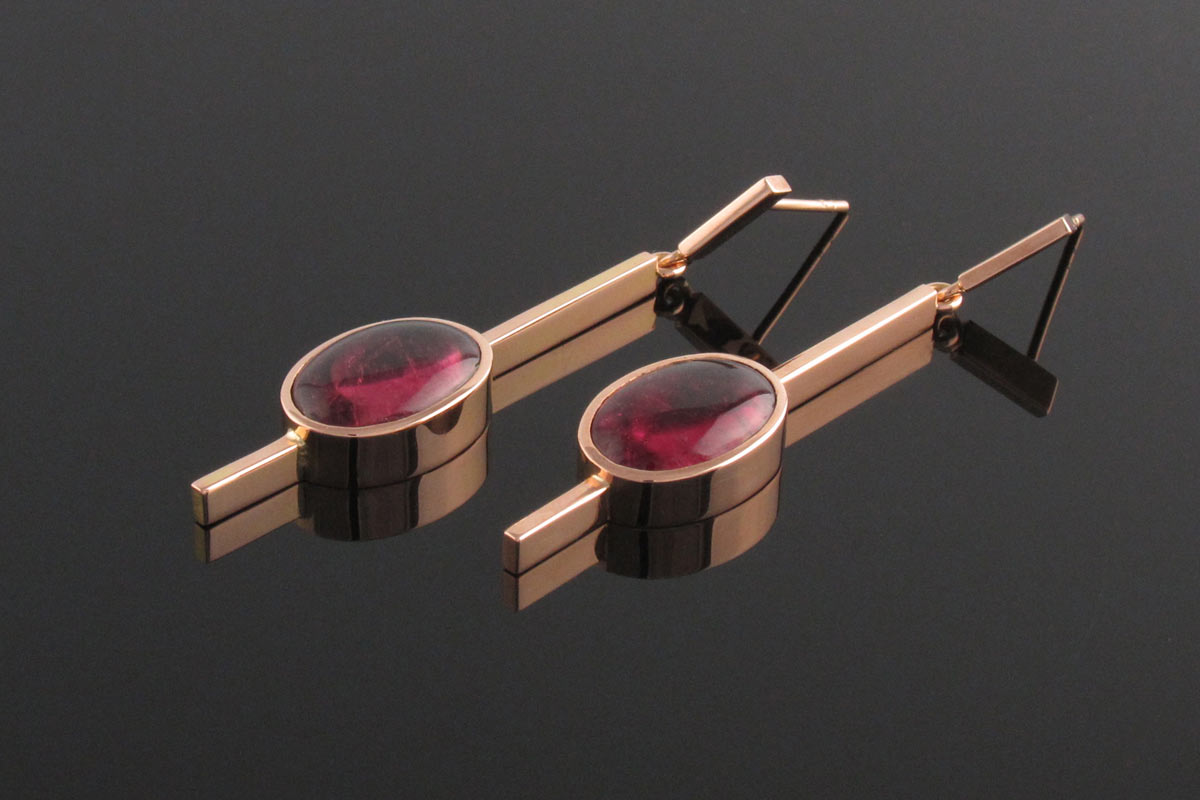 Pink tourmaline drop earrings