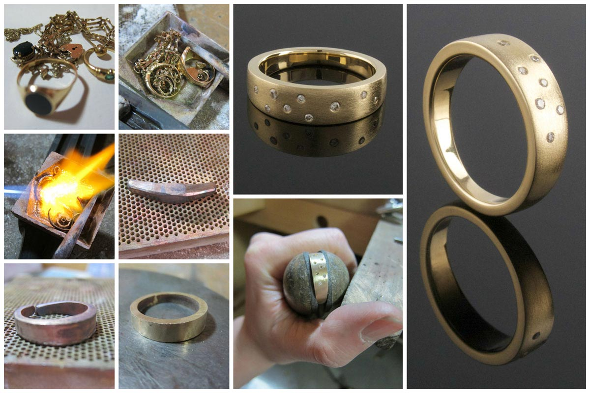 Tapering yellow gold ring made from recycled metal with a smattering of punch set diamonds