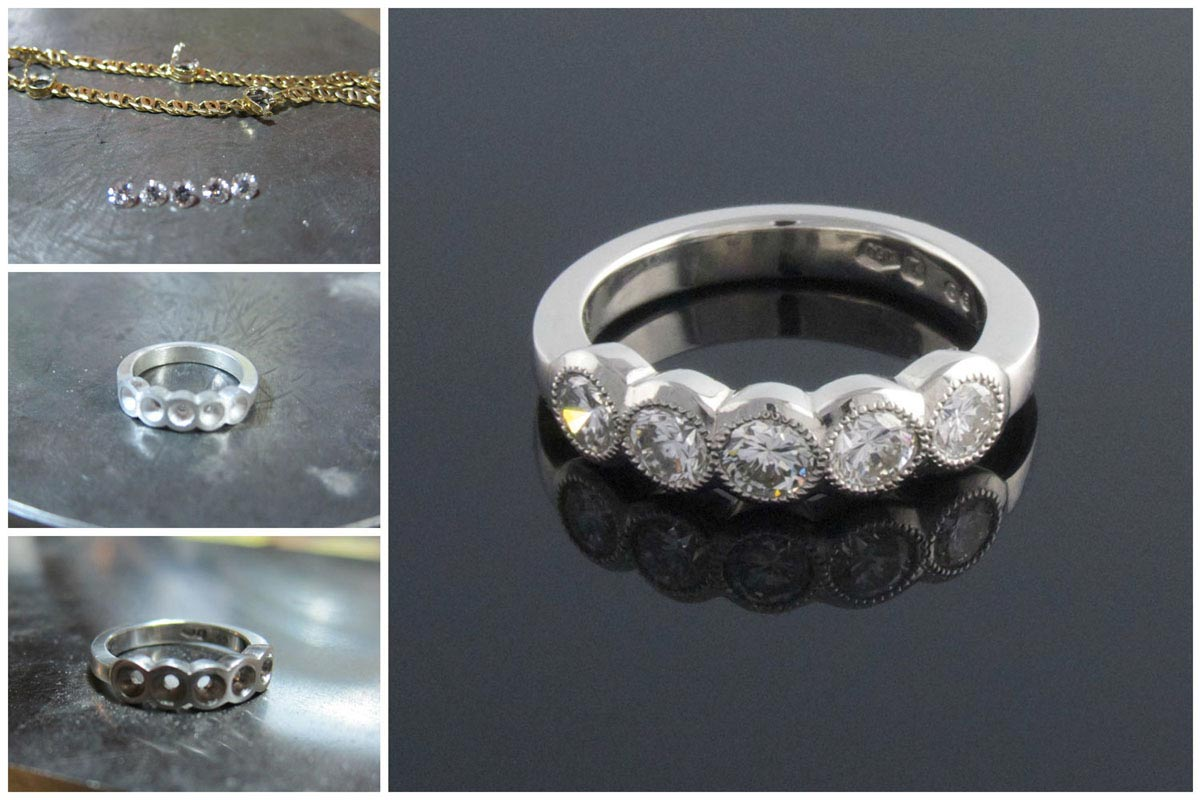 Platinum 5 stone diamond ring collage