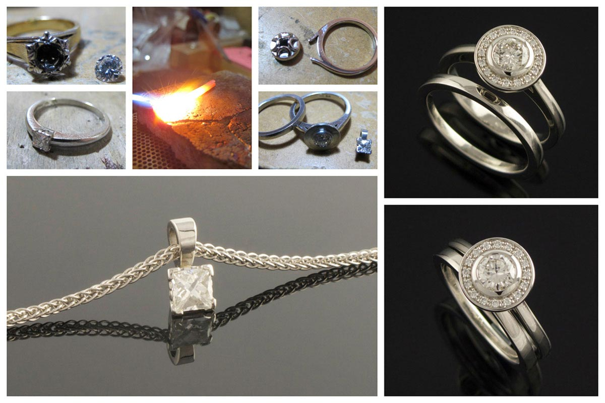 Platinum halo engagement and wedding ring set - Diamond pendant