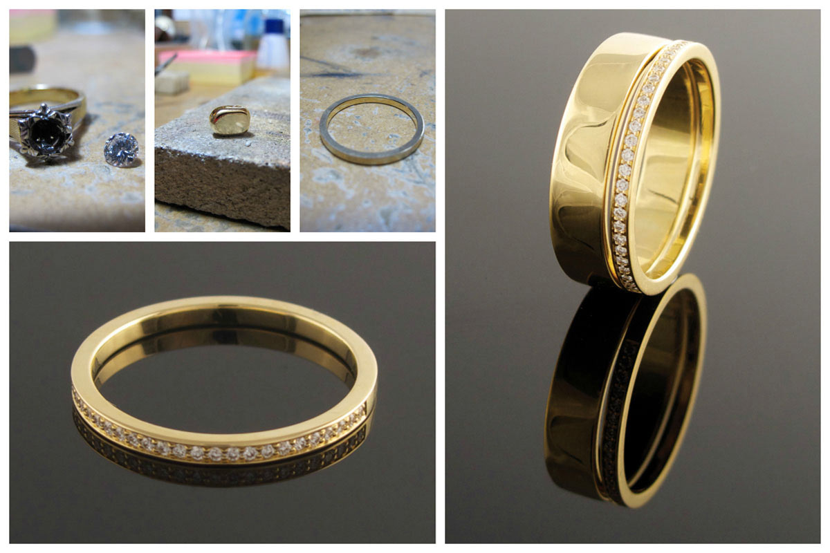 Recycled fine pave set yellow gold eternity ring.