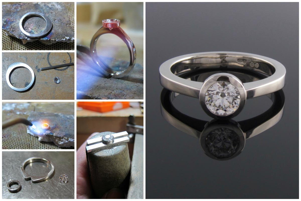 Handmaking a platinum solitaire diamond engagement ring