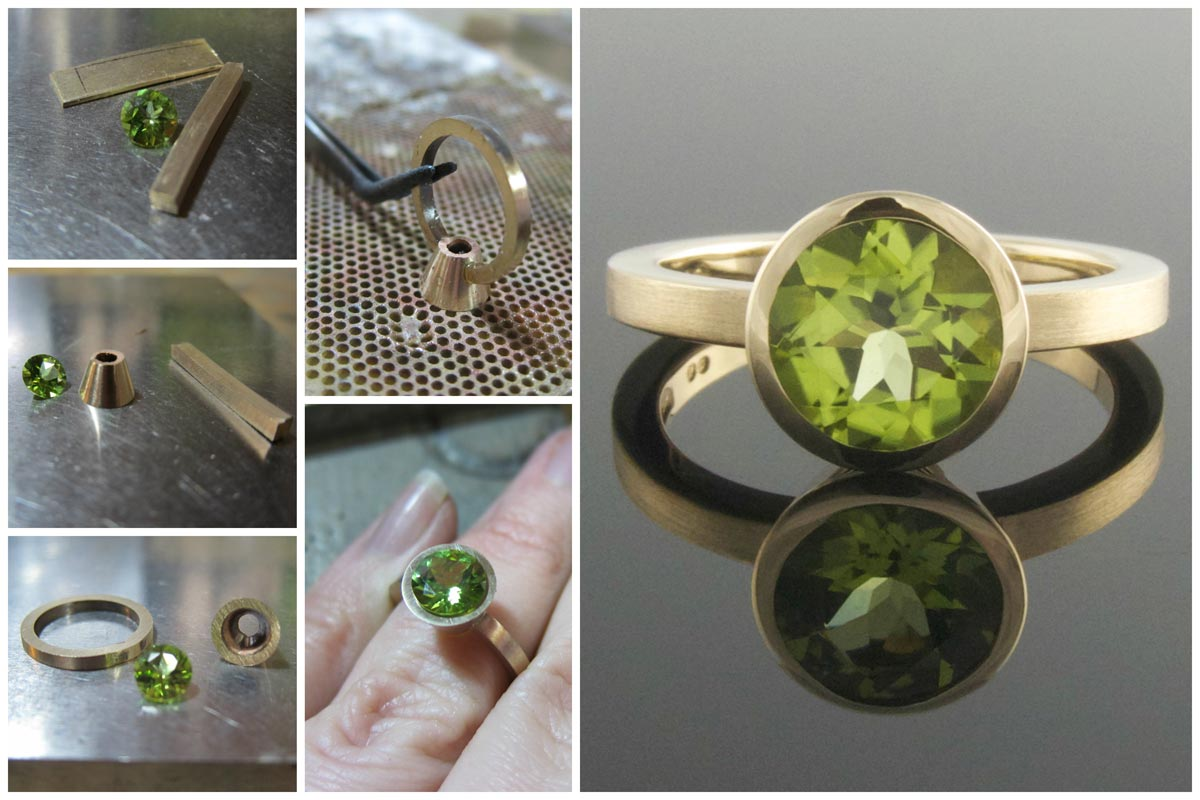 Handmaking a peridot engagement ring