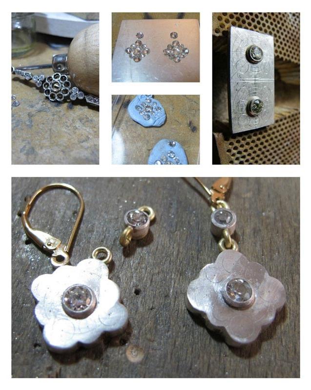Drop earrings in the making