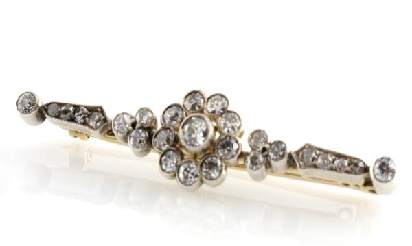 Diamond bar brooch