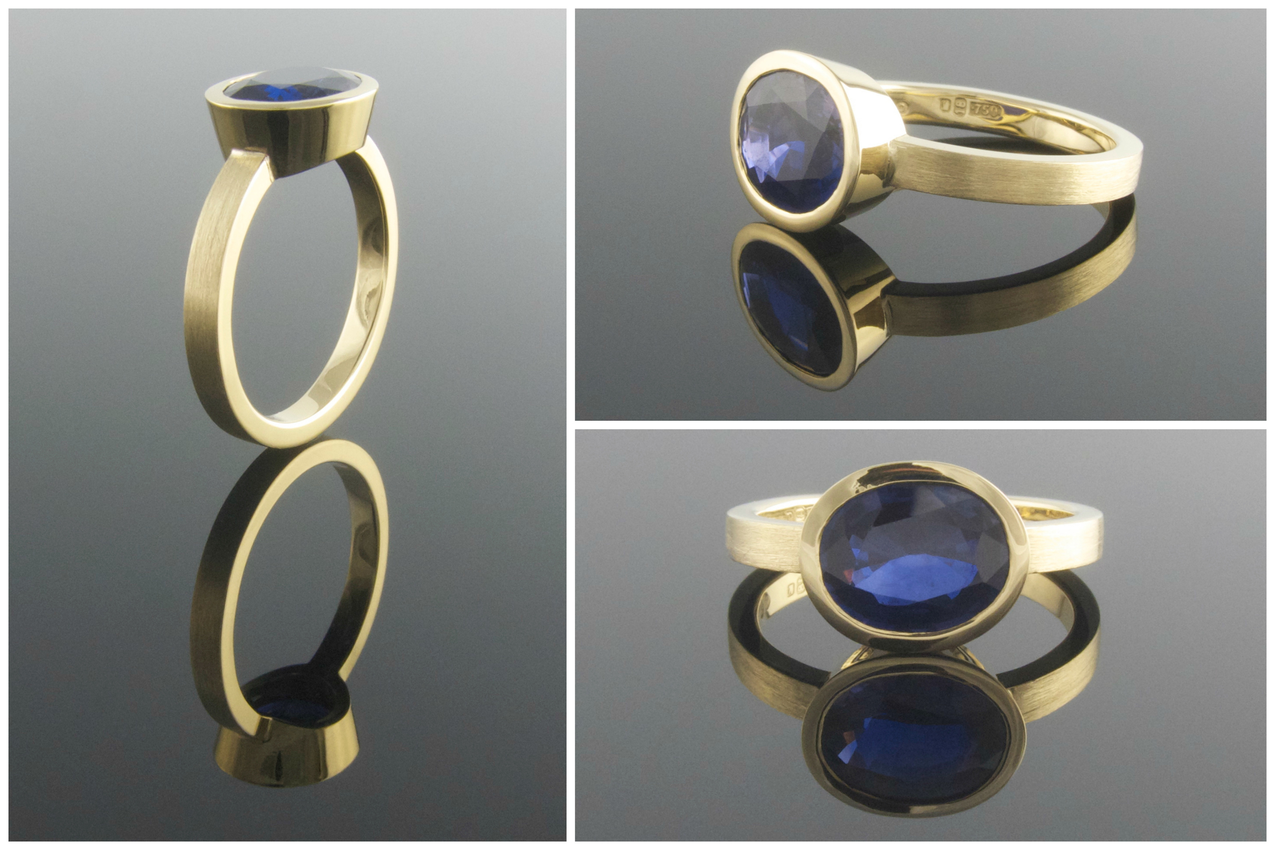 Hand made sapphire engagement ring