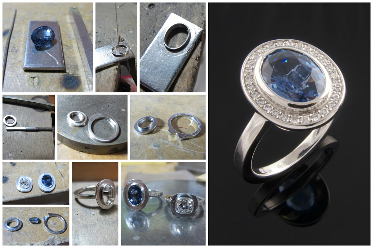 Making a platinum, diamond and blue sapphire engagement ring