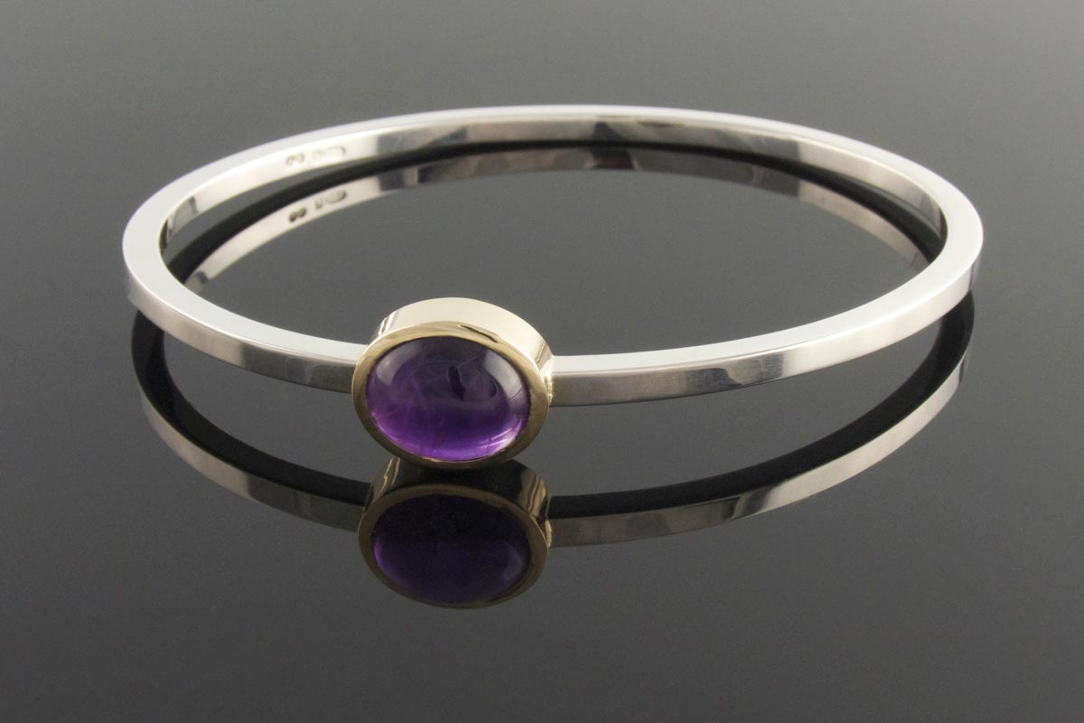 Contemporary amethyst bangle