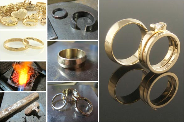 Recycled yellow gold wedding and engagement rings