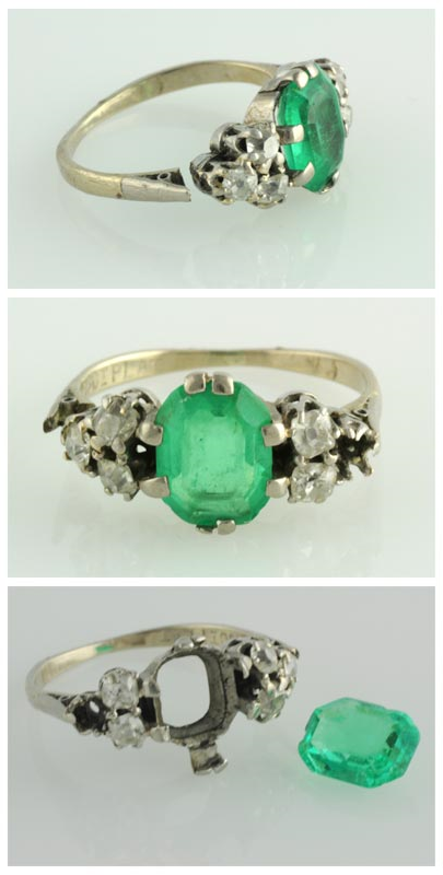 Original 18ct and platinum ring with chipped and scratched emerald