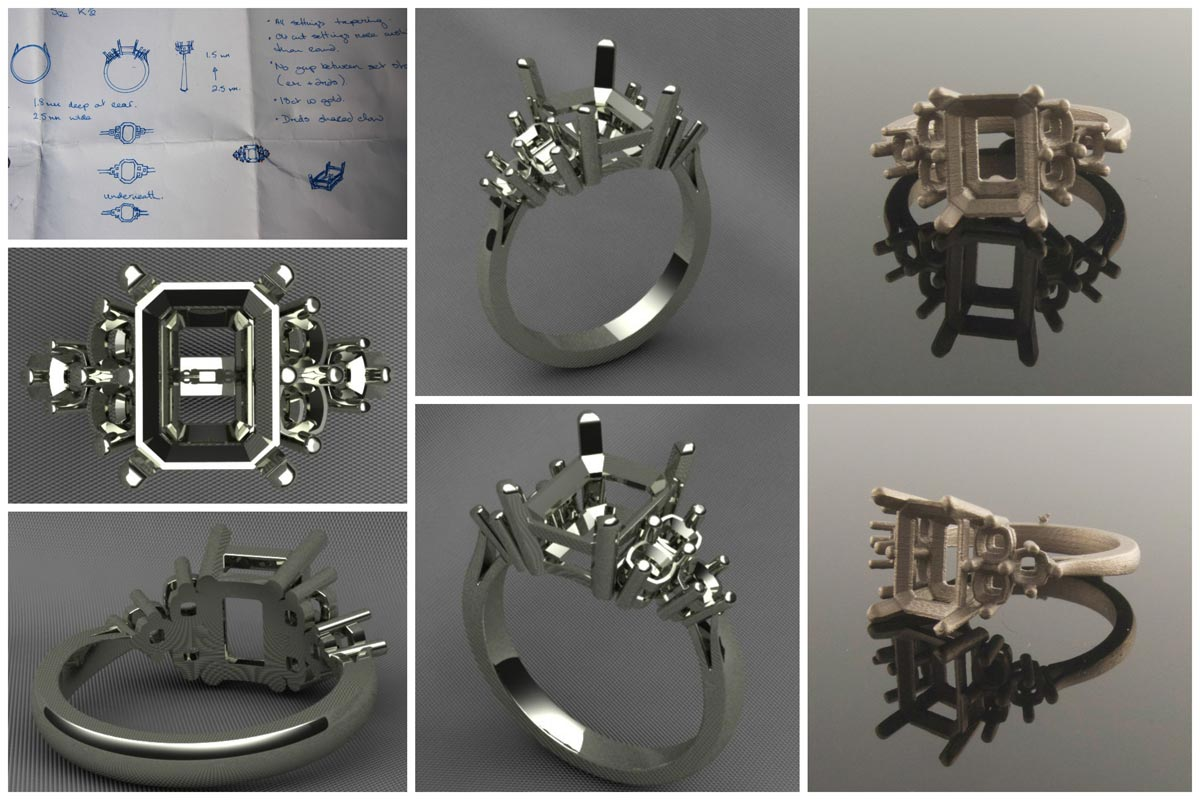 Above are CAD renders and pics of the actual 18ct casting before it's cleaned back