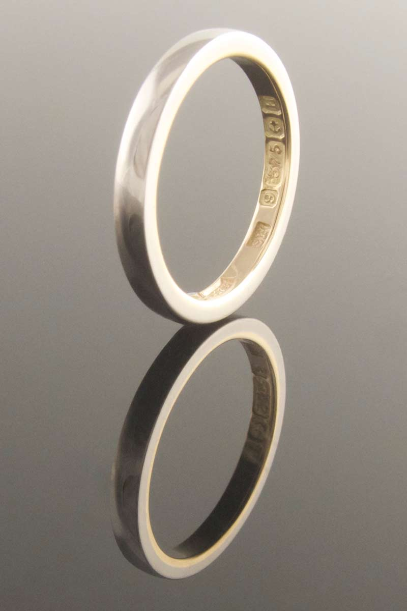 Platinum band with gold inner ring