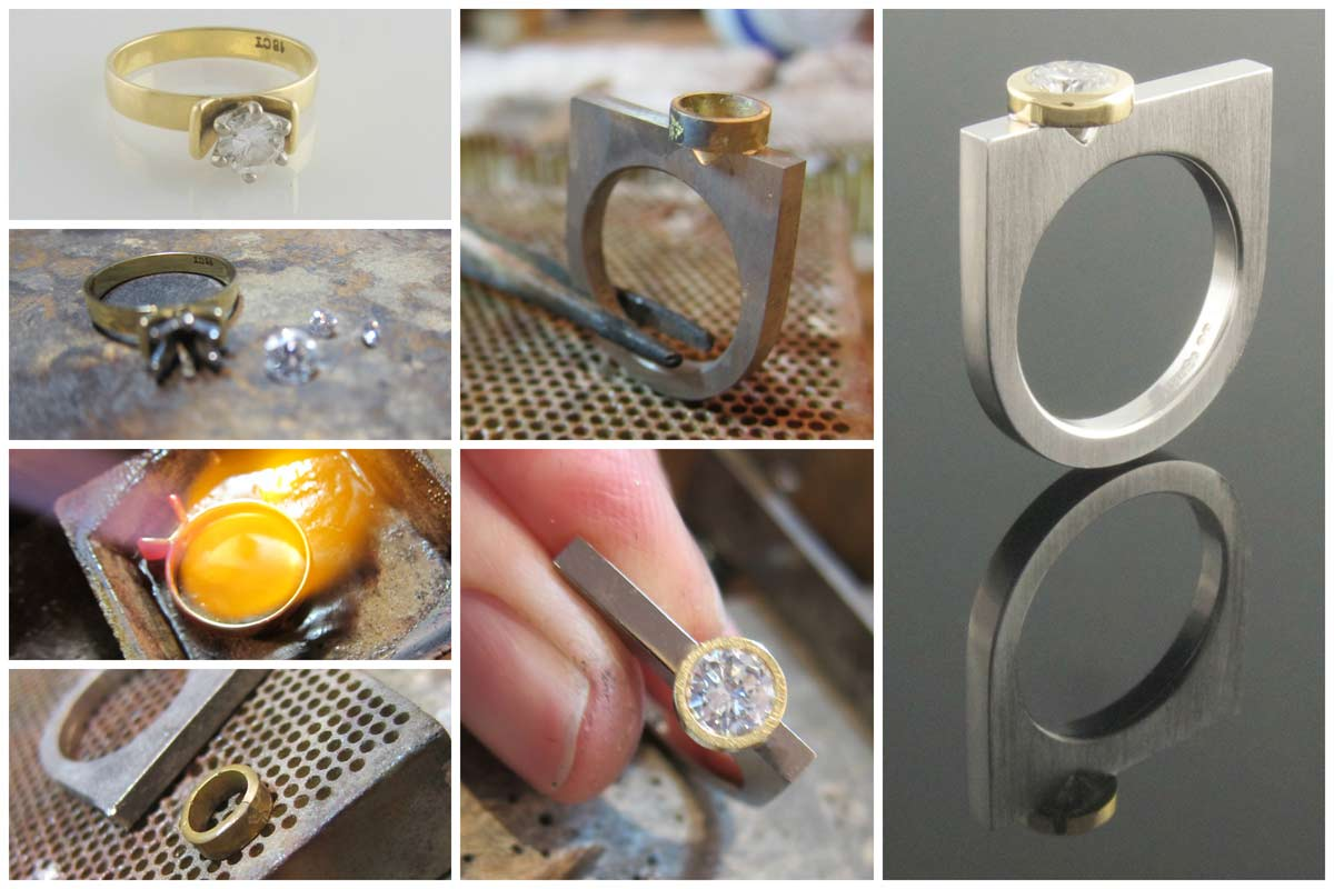 18ct yellow and white gold diamond ring remodel