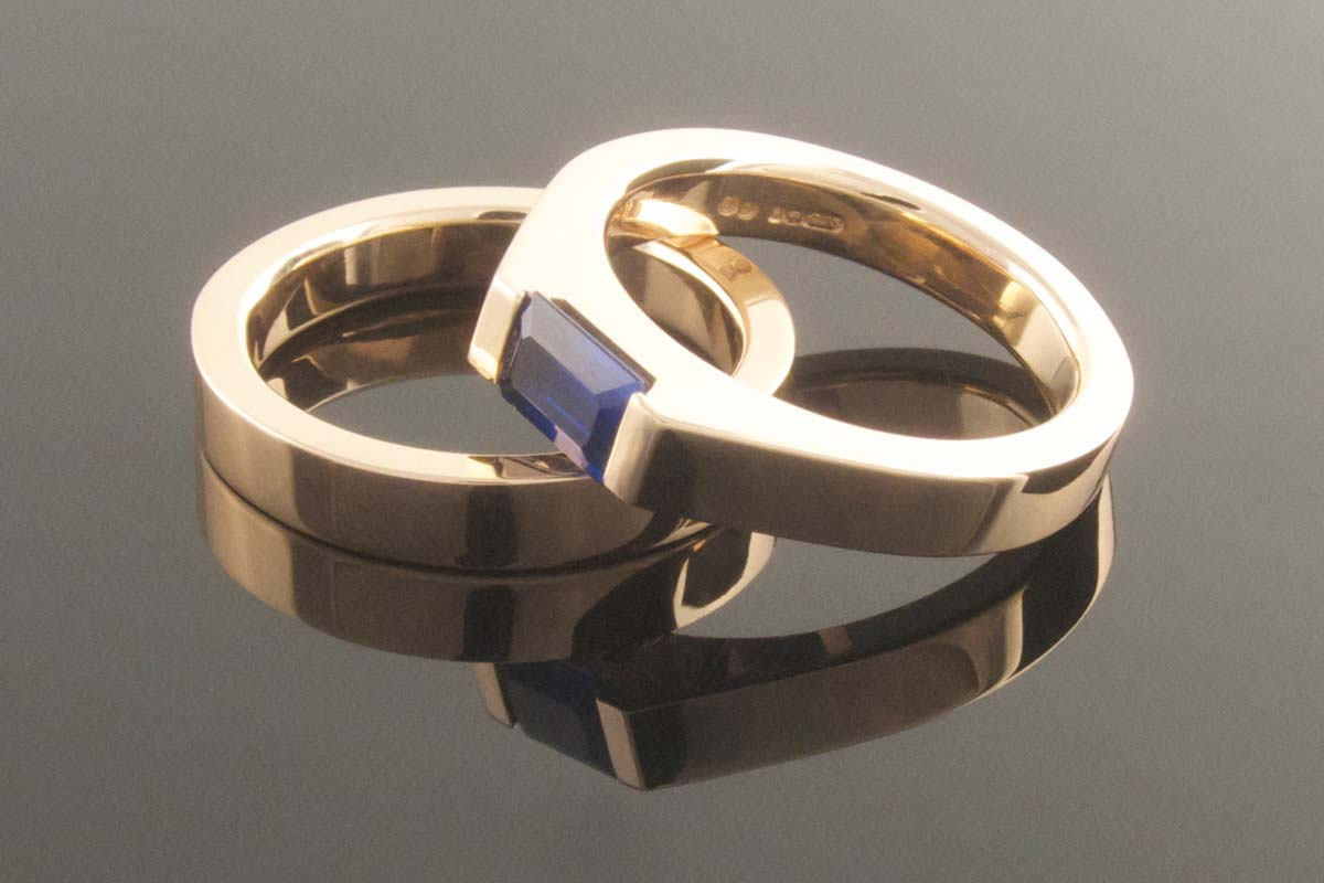 Recycled rose gold sapphire wedding and engagement ring set