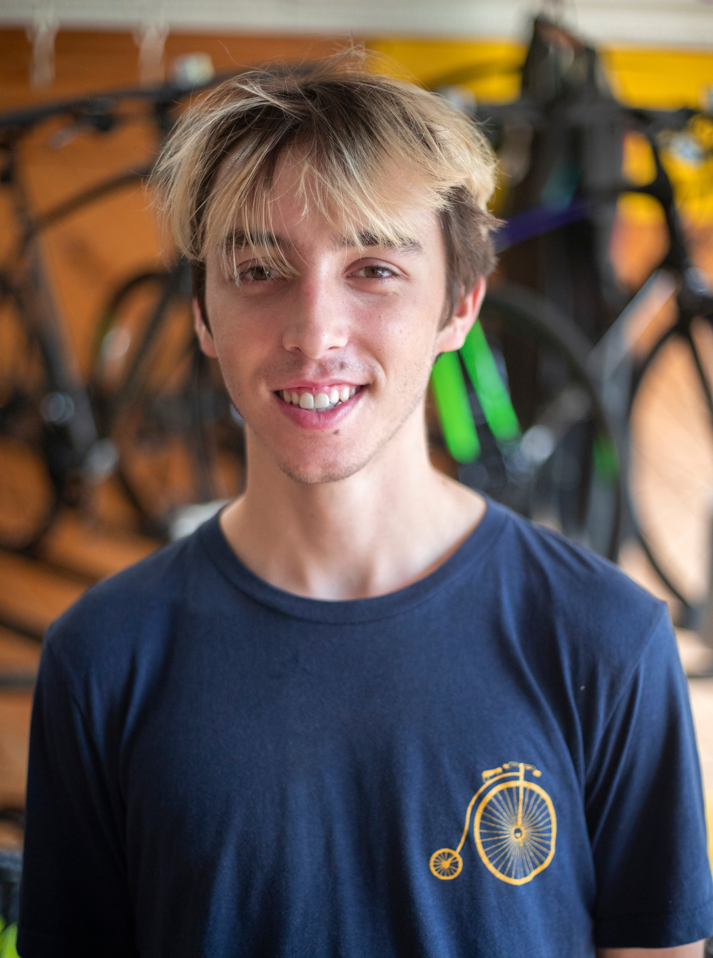 Nate    Hometown:  Pittsburgh, PA   Experience:  Has worked at bike shops and has been into racing and riding for four years and has been working here since 2018.   Favorite Bike:  Cinelli Mash Parallax Fixed Gear   What do you do when you are not on the bike?  Works on music and reads/writes.