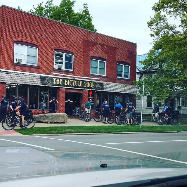 Police presence at the shop last night for a basic maintenance class. . . @statecollegepa  #police #bikecop #bikepatrol #cops #bikemaintenance #popo #bacon #bikerepair  @parktoolblue